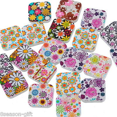50PCs Wood Buttons Sewing Scrapbooking Floral Square Multicolor 19x19mm