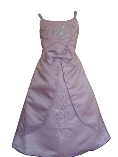Satin Flower Girl Party Bridesmaid Dress Lilac Ivory Pink 4 5 6 7 8 9 10 11 Year