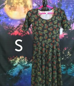 Lularoe-Nicole-Dress-Size-S-3-4-Sleeve-Holiday-Christmas-Print-New-with-Tags