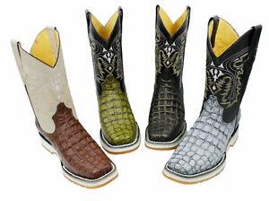 14222696e04e4 Details about Men's cowboy Crocodile Print square toe rodeo western  boots-Brand New DB