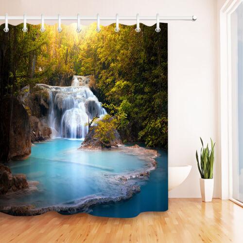 Forest Waterfall Scene Shower Curtain Set Waterproof Fabric Bathroom w//12 Hooks