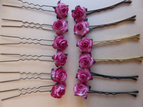 6 ROSE KIRBY GRIPS HAIR PINS HAIR ACCESSORIES WEDDING FLOWERS PARTY DANCE