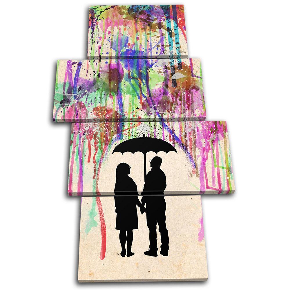 Couple Love Rain Abstract Paint Love Love Love MULTI LONA pa rojo  arte Foto impresion 343343