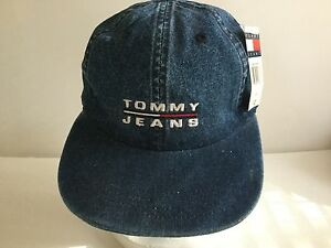 80d7cb6c914 Vintage 90 s Tommy Hilfiger Jeans Denim Dad Hat Cap Adjustable One ...
