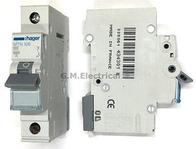 HAGER 6 AMP TYPE B 6A MCB CIRCUIT BREAKER SINGLE POLE PHASE NBN106A MTN106 10KA