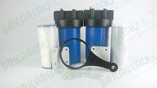 """Dual Stage 10"""" Big Blue Whole House Water Filter Pleated & CTO Filter Cartridges"""
