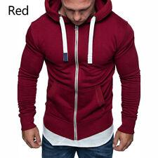 Men Slim Fit Cardigan Hooded Sweat Hoodie Sweatshirt Jacket Coat Zip Sweater Top