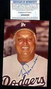 Tommy Lasorda PSA DNA Coa Hand Signed 4x6 Photo Autograph