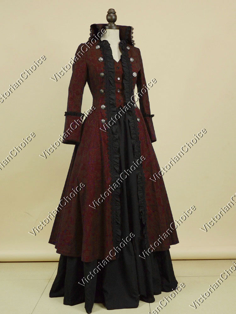 Victorian Gothic Game of Thrones Military Coat Dress Steampunk Punk Clothing 176