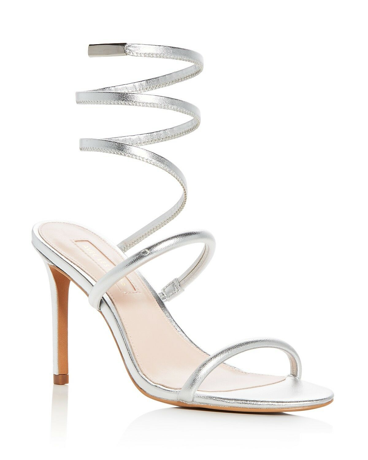 Avec Les Filles Joia Leather Ankle Wrap High-Heel Sandals Size 9.5 Silver