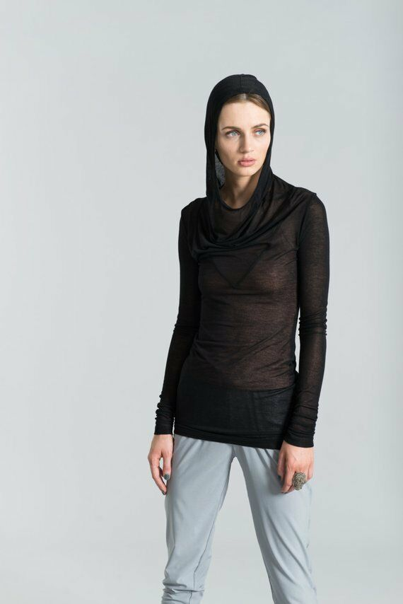 schwarz Sheer See-Through Long Sleeve Top with Hood