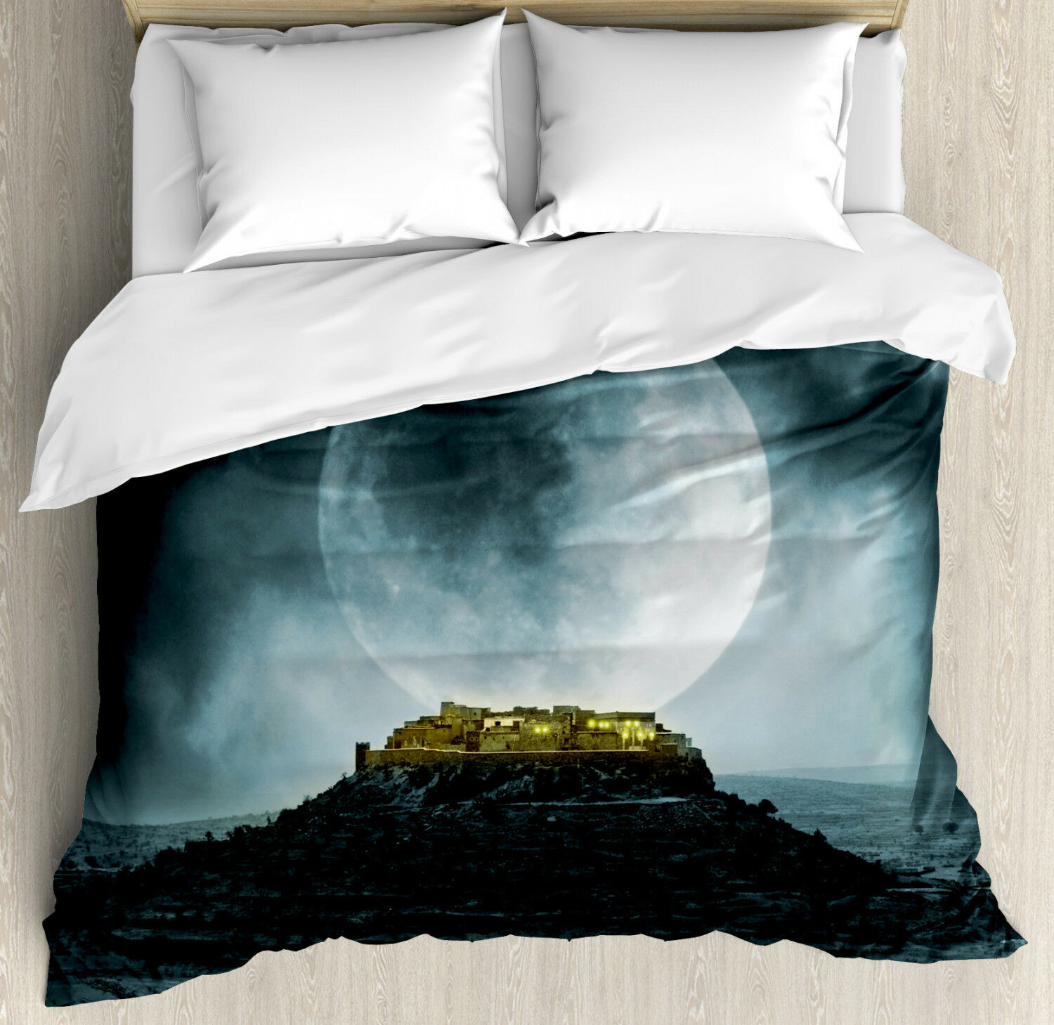 Night Sky Duvet Cover Set with Pillow Shams Full Moon and Castle Print