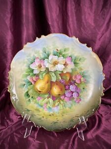 Antique LS&S Carlsbad Austria Hand Painted Plate Charger Fruit Motif c.1880's