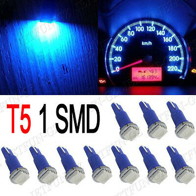 10X Blue T5 5050 1SMD Wedge Car Dashboard LED Light Bulbs 2721 74 73 70 17 18 37