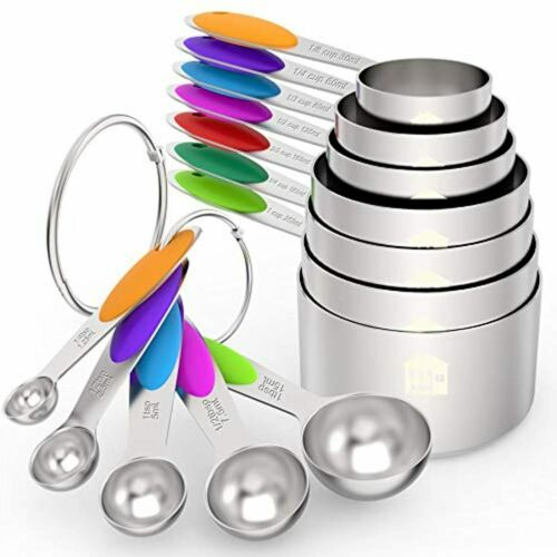 Measuring Cups Set Spoons Stainless Steel of 12 Baking Cooking Kitchen Tools