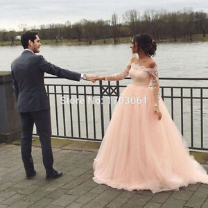 Saudi Arabia Blush Pink Wedding Dress Large Shoulder Long Lace ...