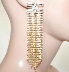 ORECCHINI donna cristalli ORO dorati fili strass lunghi eleganti cerimonia G52