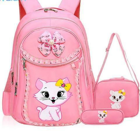 Sweet Cat Girl/'s School Bags Cartoon Pattern Kid Bac