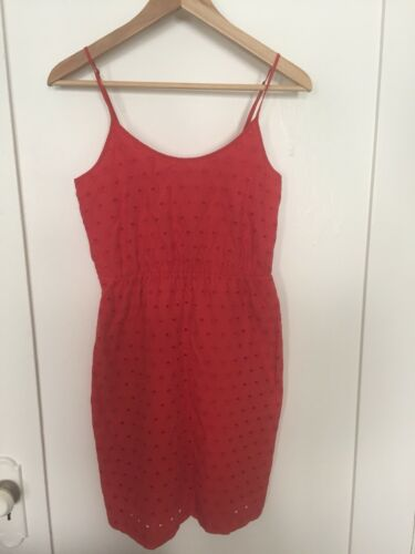 Madewell Eyelet Dress Size 0 Orange Spaghetti Stra