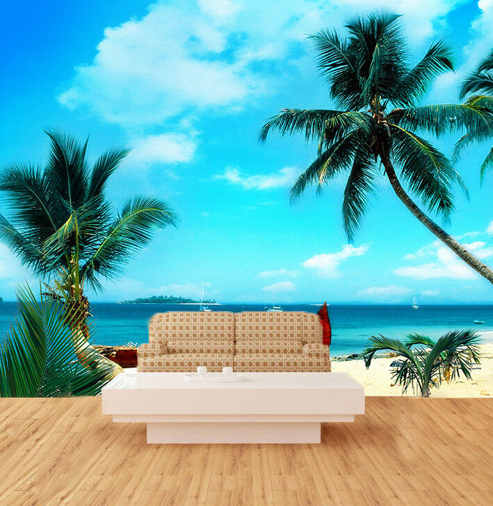 3D Boat Trees Beach 51 Wall Paper Wall Print Decal Wall Deco Indoor Mural Carly