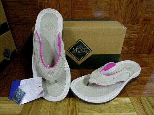 Muck Boot Women/'s Wanderer Flip Flops Tan//Pink