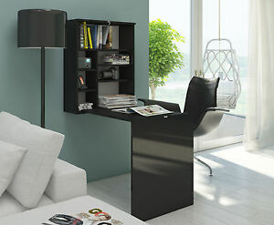 Black-Gloss-Folding-Computer-Pc-Table-Desk-Hide-Office-Home-Desktop-Study-Table