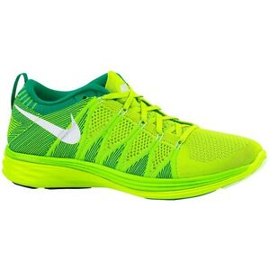 Nike Womens Flyknit Lunar 2 Running Shoes Hi Vis Trainers Green RRP ... e9356b6491f6