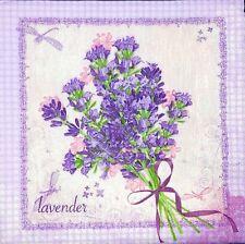 3 x Single Paper Napkins For Decoupage Purple Lavender Flowers Butterflies M645