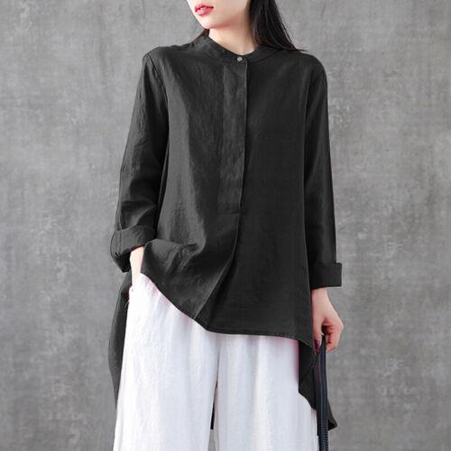 ZANZEA Women Fashion Long Sleeve Blouse Top Tee Pullover Loose Hi-Low T-Shirt
