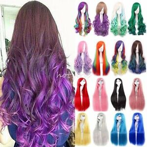 Silky Long Hair Anime Wig Real Heat Resistant Straight Curly Cosplay ... b09e059dd033