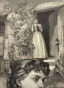Original-antique-signed-surrealist-collage-Victorian-art-rock-cello-violin-music