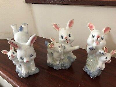 Vintage Porcelain Easter Rabbit Bunny Figurine Set Of 3 Ebay