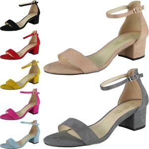 5df6d939841d Womens Mid Heel Shoes Ladies Suede Ankle Strap Buckle Work Summer ...