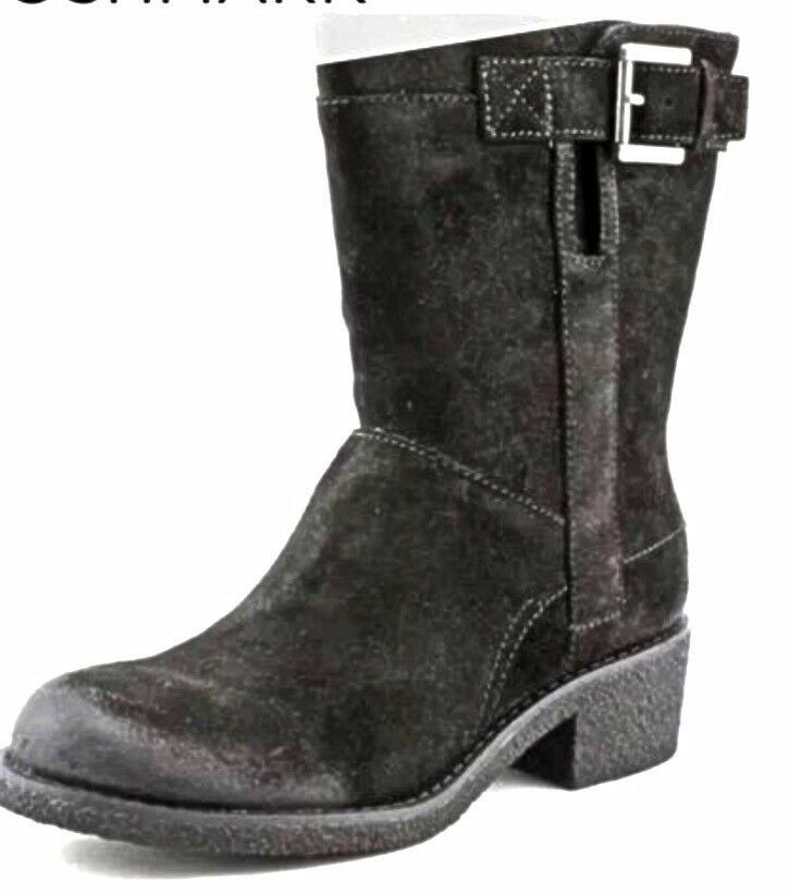 Nine West Valundie Black Suede Suede Suede Man Made Boot Silver Buckle Size 7.5 New In Box b7e32b