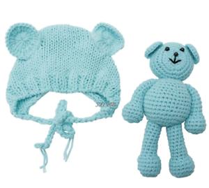 Baby Mütze Teddy Bär Props Kostüm Neugeborenen Foto Shooting  56 türkis