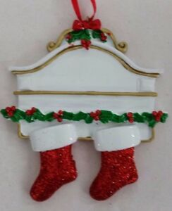 Family Christmas Stockings.Details About You Can Personalize White Mantle Two Stockings Couple Family Christmas Ornament