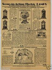 1931 PAPER AD Combination Action Lamp Aquarium Edon Industrial Adjustable Lamps