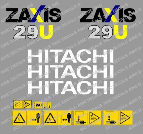 Hitachi Zaxis 29U Mini Bagger Komplett Aufkleber Set mit Sicherheit Warnzeichen