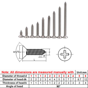 M1 M1.2 M1.4 M2 Phillips Flat Head Self Tapping Wood Screws 304 A2-70 Stainless