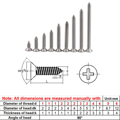 Fasteners Color : 10mm, Size : M4 50pcs Panel Screws 100pcs 50PCS M1 M1.2 M1.4 M1.7 M2 M2.2 M2.6 M3 M4 Cross Recessed Flat CountersunK Head Screws Self-tapping Wood Screws Nails