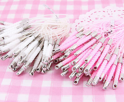 20 x TOP QUALITY Mobile Phone Lariats in Pink & White for DIY Charms Decoden