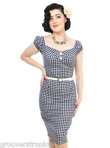 Collectif UK Delores Navy Gingham Pencil Dress Wiggle ...