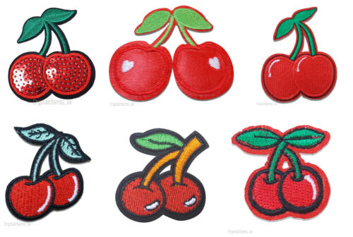 Sew On Embroidered Applique Motif *Buy 2 get 10/% off* Red Cherry Cherries Iron