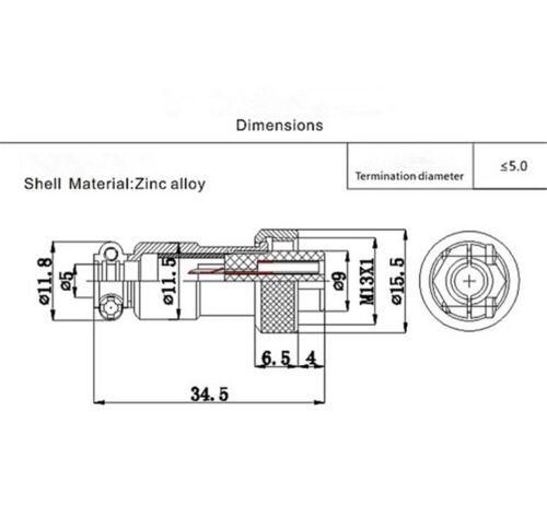 GX12 Luftfahrt Rundstecker Stecker und Buchse Durchmesser 12mm HV