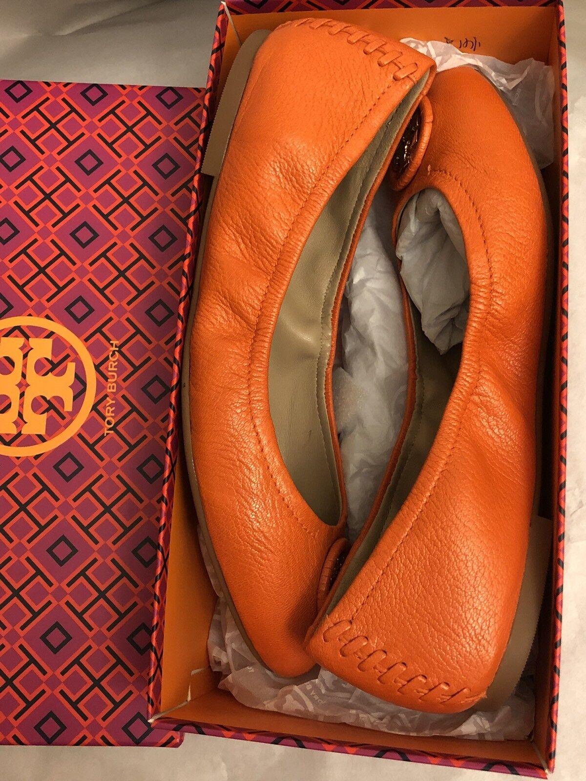 Tory Burch Allie Wrapped Logo Ballet Flats shoes Mango orange orange orange Size 8 be8925