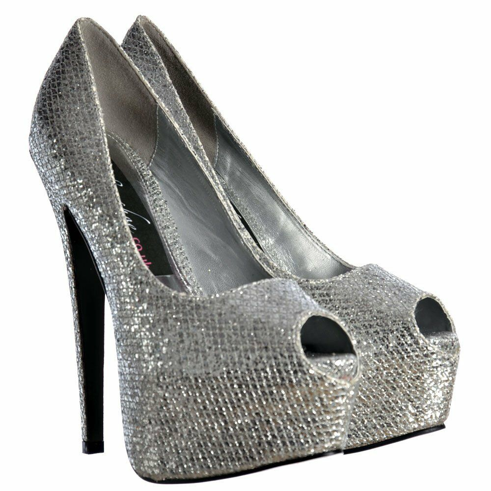 LADIES SPARKLY SILVER GLITTER PEEP TOE STILETTO HEELS SHOES EVENING PARTY SIZE