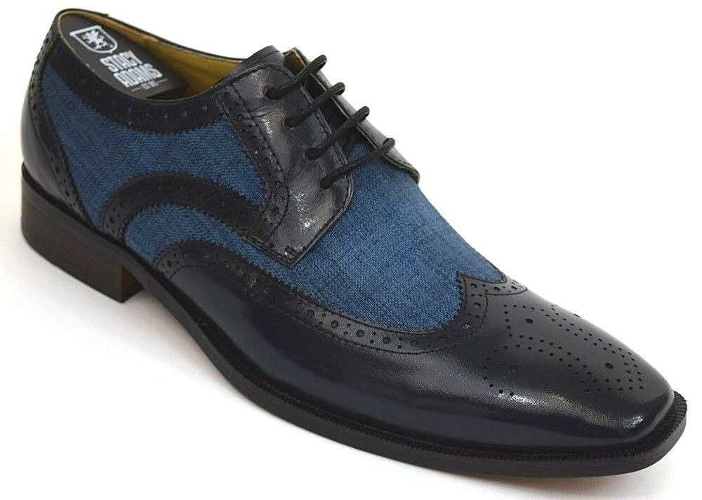 Men's Dress shoes Wing Tip Oxford bluee Multi Leather Stacy Adams 25191 KEMPER