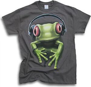 DJ-Rock-Rave-Party-Red-Eye-Green-Tree-Frog-Funny-Mens-Womens-T-Shirts-Sm-3XL