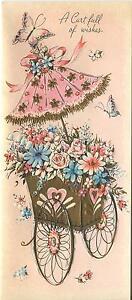 VINTAGE PINK ROSE BLUE DAISY PARASOL GARDEN FLOWER 1 CHRISTMAS TOY SHOP ART CARD