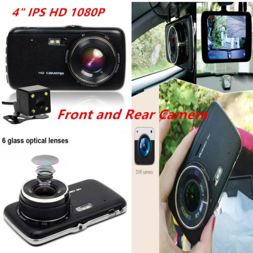 """4/"""" IPS Full HD 1080p Dash Cam Car DVR Front and Rear Cameras Video Recorder Cam"""